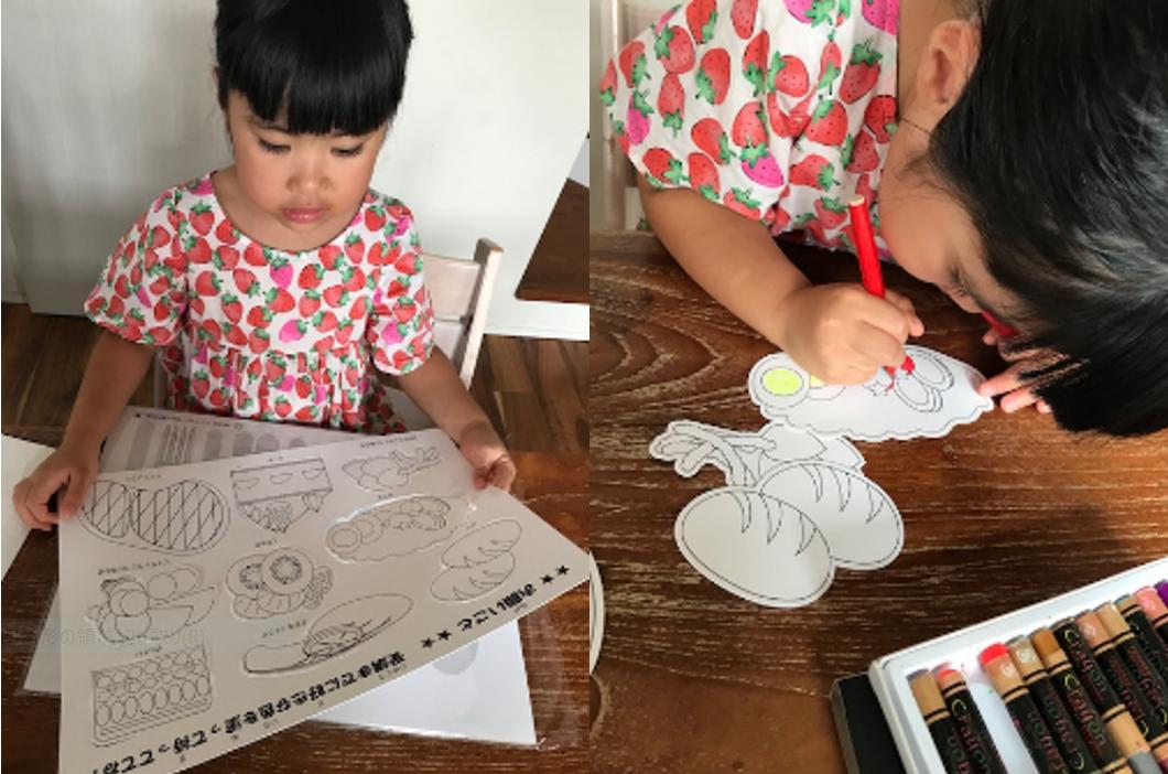 子どもがマナー用の工作をしている